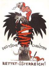 Caricature antisémite sur une affiche électorale du parti chrétien-social à Vienne, 1920